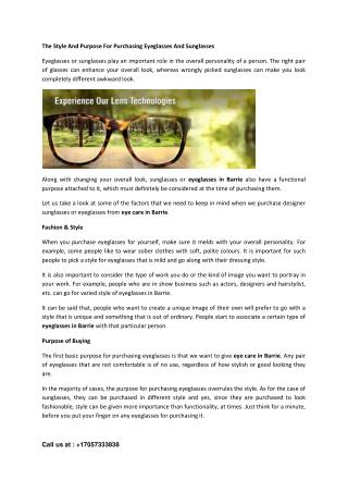 The Style And Purpose For Purchasing Eyeglasses And Sunglasses