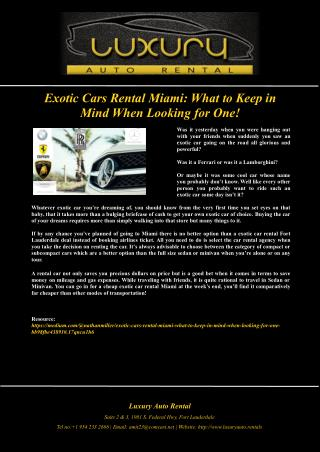 Exotic Cars Rental Miami: What to Keep in Mind When Looking for One!