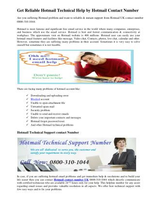 Get Reliable Hotmail Technical Help by Hotmail Contact Number