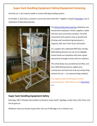 Super Sack Handling Equipment Safety - AMG Bolting Solutions