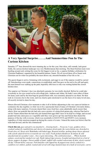 A Very Special Surprise……..And Summertime Fun In The Curious Kitchen