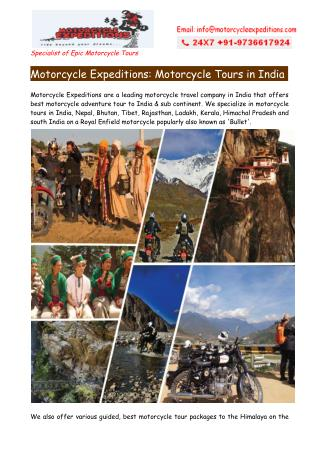 Best Motorcycle Tours in India Nepal