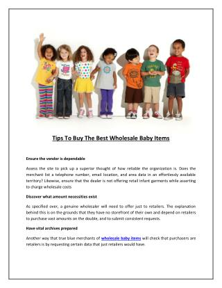 Tips To Buy The Best Wholesale Baby Items