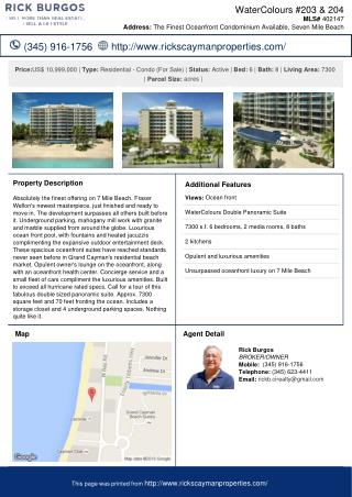 WaterColours #203 & 204 Residential - Condominium Cayman Property for Sale