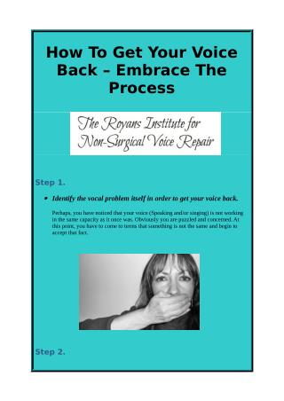 How To Get Your Voice Back – Embrace The Process
