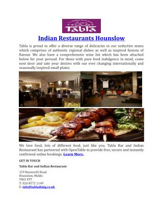 Indian Restaurants Hounslow-TablaDining