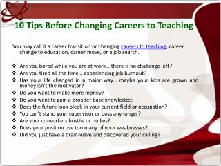 10 Tips Before Changing Careers to Teaching