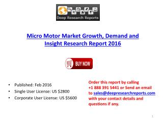 Micro Motor Market Growth and Forecasts to 2021