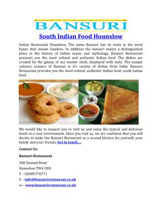 South Indian Food Hounslow BansuriRestaurant
