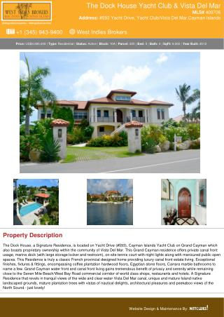 The Dock House | Cayman Residential Real Estate Property for Sale - West Indies Brokers