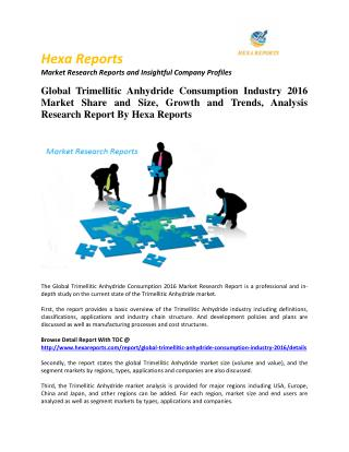 Global Trimellitic Anhydride Consumption Industry 2016 Market Share and Size, Growth and Trends, Analysis Research Repor
