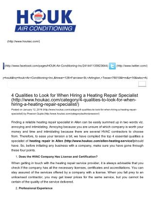 4 Qualities to Look for When Hiring a Heating Repair Specialist