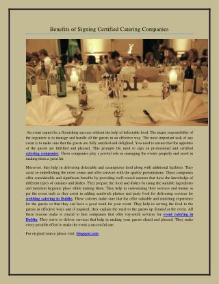 Benefits of Signing Certified Catering Companies