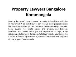 Property Lawyers Bangalore Koramangala