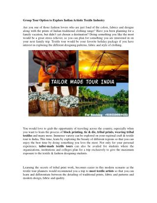 Travel to Explore Indian Artistic Textile Industry
