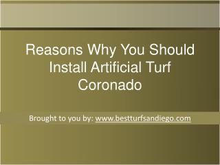 Reasons Why You Should Install Artificial Turf Coronado