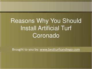 Reasons Why You Should Install Artificial Turf Coronado