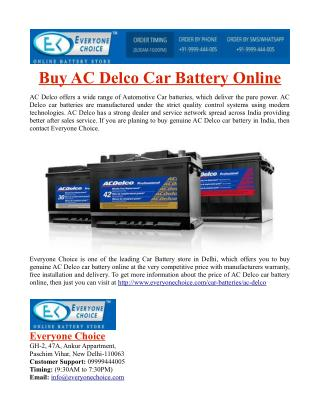 Buy AC Delco Car Battery Online