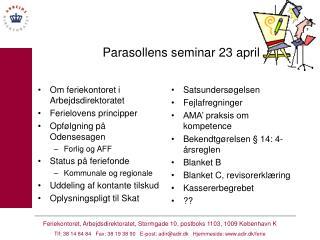 Parasollens seminar 23 april