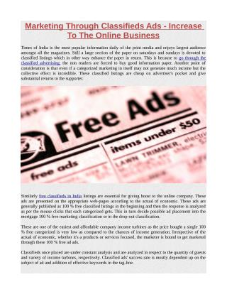 Marketing Through Classifieds Ads - Increase To The Online Business