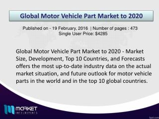 Global Motor Vehicle Part Market Analysis & Forecast Till 2020.