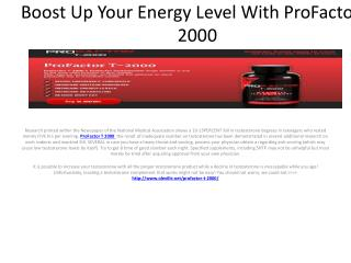 Boost Up Your Energy Level With ProFactor T 2000