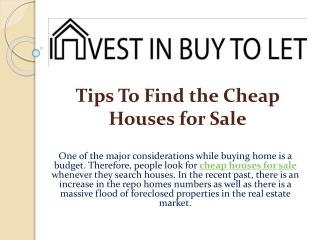 Tips To Find the Cheap Houses for Sale