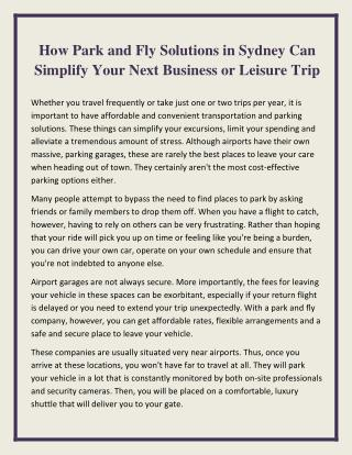 How Park and Fly Solutions in Sydney Can Simplify Your Next Business or Leisure Trip
