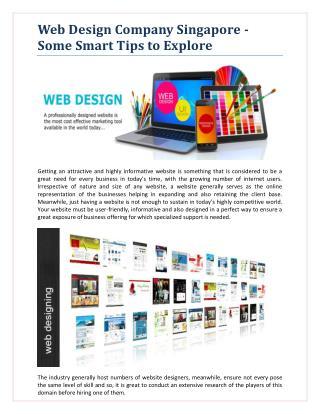 Web Design Company Singapore - Some Smart Tips to Explore