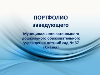 Презентация руководителя МАДОУ 37 Сухой Лог Новый ДОУ