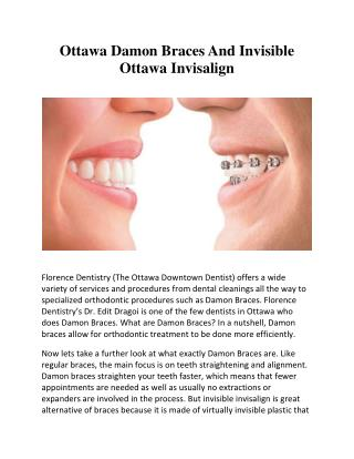 Ottawa Damon Braces And Invisible Ottawa Invisalign