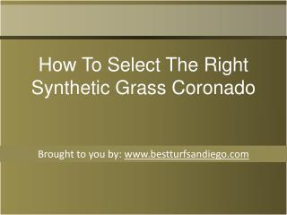 How To Select The Right Synthetic Grass Coronado