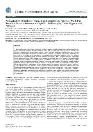 Biofield Energy Effect on MDR Stenotrophomonas maltophilia