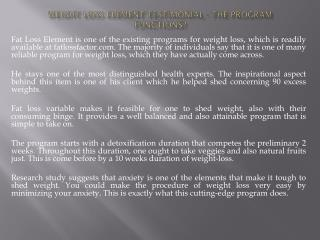 Weight loss Element Testimonial - The Program Functions