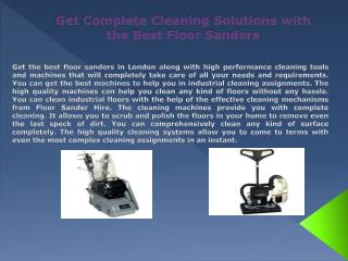 Get Complete Cleaning Solutions with the Best Floor Sanders