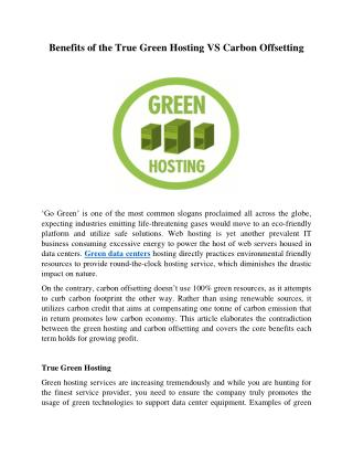 Benefits of the True Green Hosting VS Carbon Offsetting