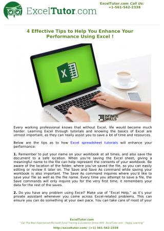 4 Effective Tips to Help You Enhance Your Performance Using Excel