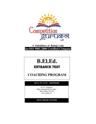 B.El.Ed Coaching in Delhi, Uttam Nagar - Competition Gurukul