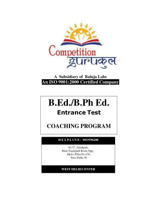 B.Ed Coaching in Delhi, Uttam Nagar - Competition Gurukul