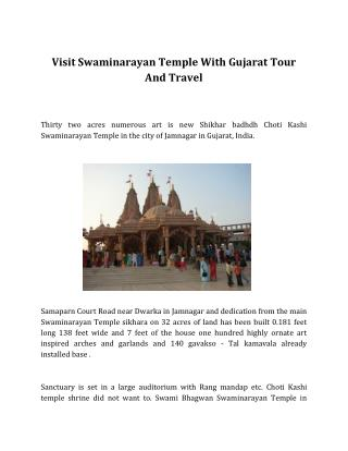 Visit Swaminarayan Temple With Gujarat Tour And Travel