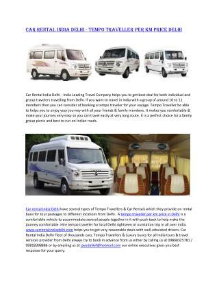 Tempo Traveller per km Price delhi