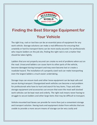 Finding the Best Storage Equipment for Your Vehicle