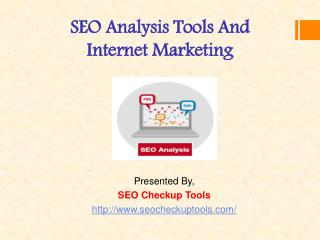 SEO Analysis Tools And Internet Marketing