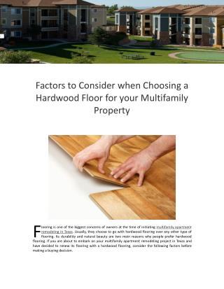 Factors to Consider when Choosing a Hardwood Floor for your Multifamily Property