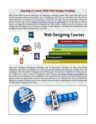 Starting A Career With Web Design Training