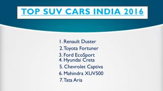 Find Top SUV Cars India 2016