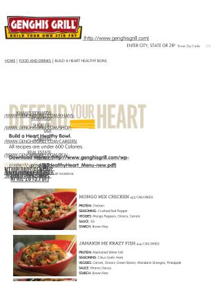 Heart Healthy Recipes from Genghis Grill