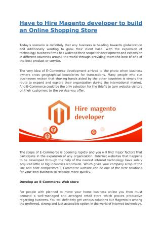 Have to Hire Magento developer to build an Online Shopping Store