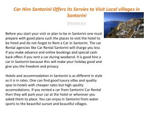 Car Hire Santorini Offers its Servies to Visit Local village