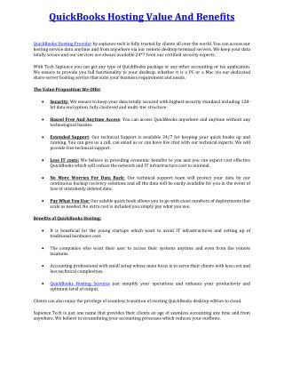 QuickBooks Hosting Value And Benefits
